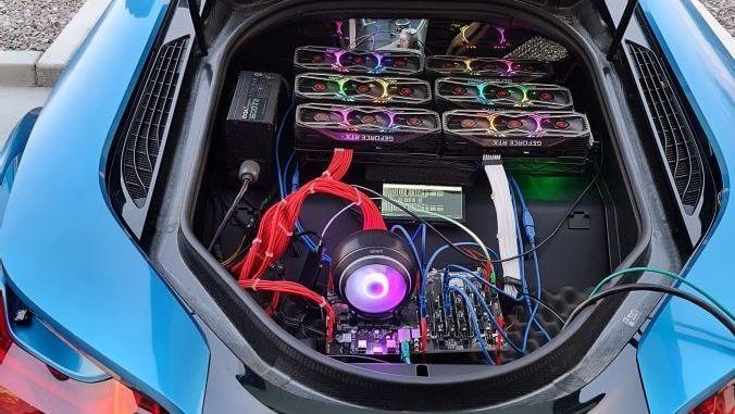 BMW i8 Bagajında 6 Adet RTX 3080 ile Madencilik